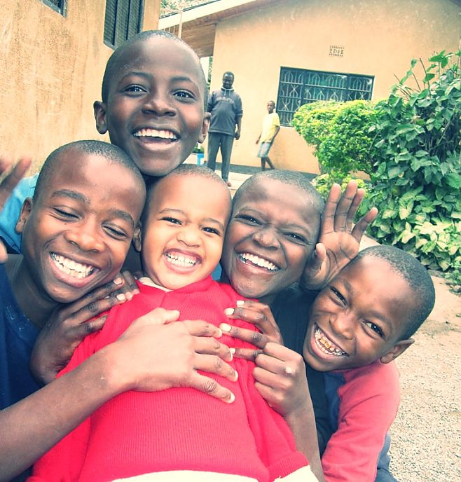 Happy boys at the Watoto Foundation