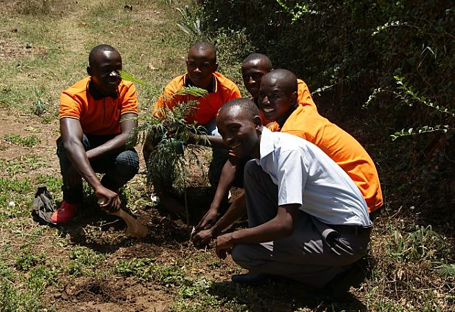 Planting a tree is a standard ceremony during the Graduation Day